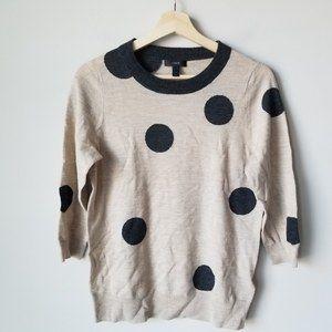 J. Crew Tippi Sweater Polka Dot Gray Oatmeal Med